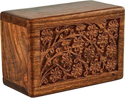 Fine Craft India Tree of Life Design Small Keepsake Decorative Engraved Wooden Visiting Card Box 6x4x3 Inches
