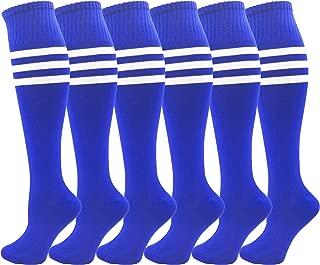 Kids Soccer Socks, 6 Pairs for Boys Girls, Knee High Athletic Sports Football Gym School Team Pack for Children, Youth
