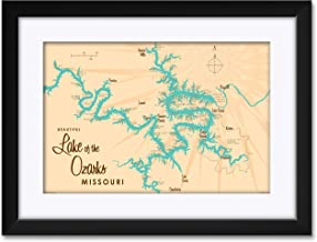 "Northwest Art Mall Lake of The Ozarks Missouri Map Framed & Matted Art Print by Lakebound Print Size: 12"" x 18"" Framed Art Size: 18"" x 24"""