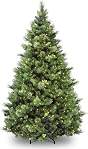 National Tree Company 'Feel Real' Pre-lit Artificial Christmas Tree   Includes Pre-strung White Lights   Flocked with Cones   Carolina Pine - 9 ft