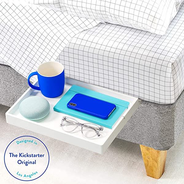 BedShelfie The Original Bedside Shelf 9 Colors 4 Sizes AS SEEN ON Business Insider Slide Style White
