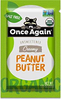 Once Again Organic, Creamy Peanut Butter - Salt Free, Unsweetened - Squeeze Packs, 10 Count