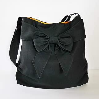 Virine black shoulder bag, cross body bag, messenger bag, everyday bag, handbag, travel bag, tote, bow, women - JENNIFER
