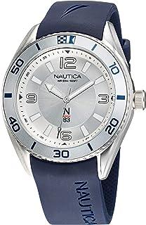 ساعة نوتيكا للرجال ستانلس ستيل كوارتز بسوار من السيليكون، ازرق، 22 كاجوال (NAFWS127)