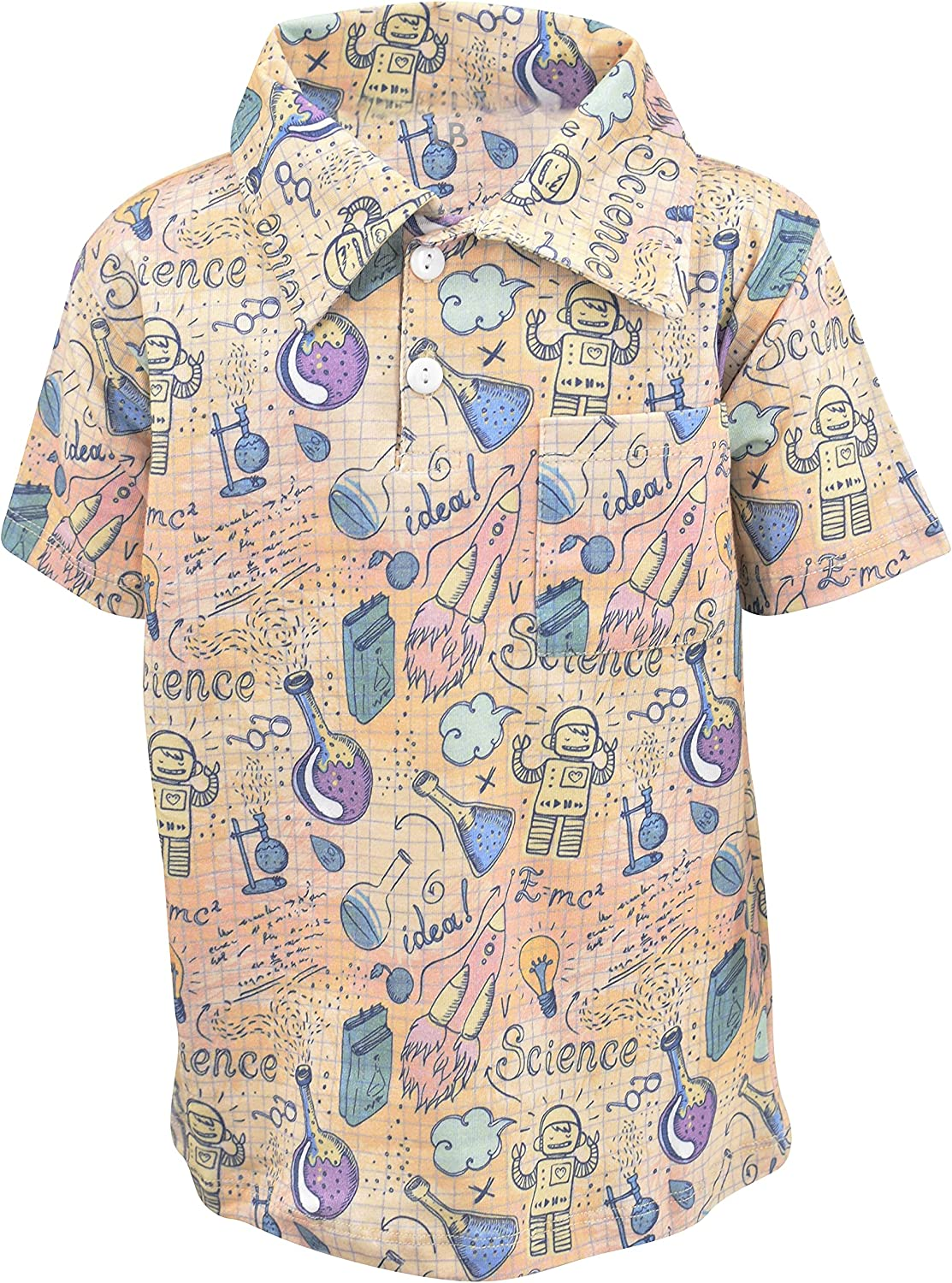 Unique Baby Boys Science Print Back to School Polo Shirt