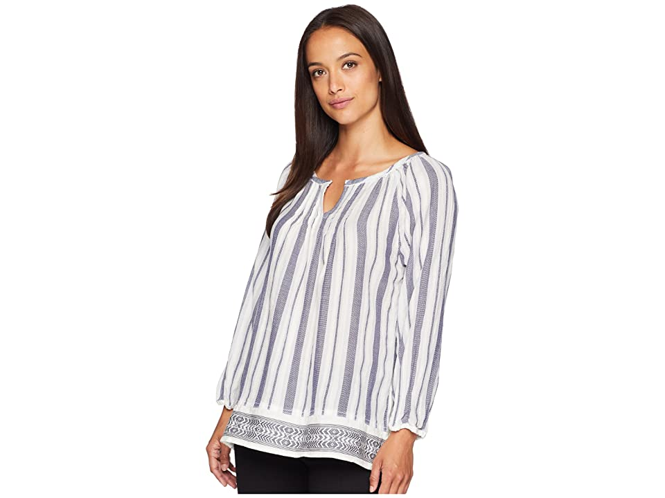 Dylan by True Grit Kenzie Pintuck Long Sleeve Tunic with Embroidered Border (Pool/Indigo) Women's Long Sleeve Pullover