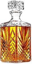 Glass Whiskey Decanter - Italian Crafted Elegant liquor Decanter with Airtight Geometric Stopper, Bar Decanter for Wine, Bourbon, Brandy, Liquor, Juice, Vodka, Tequila, ETC. | 33.75 oz