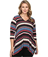 Karen Kane Plus - Plus Size Multi Stripe Handkerchief Top