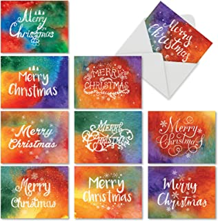 10 Boxed 'HOLIDAY WATERCOLORS' Assorted Merry Christmas Cards with Envelopes (Size 4 x 5.12 inch) - Features Beautiful Watercolor Background - Happy Holiday Greetings and Xmas Gifts M2944XSG