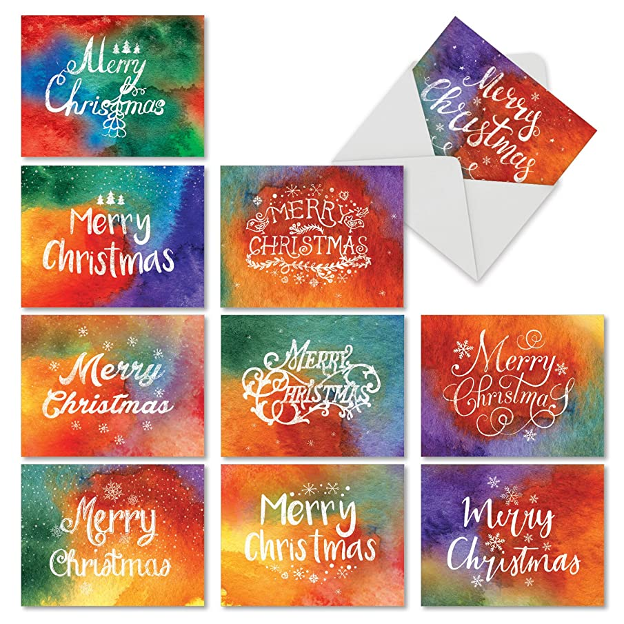Boxed Set of 10 'Holiday Watercolors' Blank Christmas Cards - Rainbow Sponge Art Note Greeting Cards 4 x 5.12 inch, Colorful Artsy Holiday Notes, Vibrant Painted Colors Xmas Cards M2944XSB