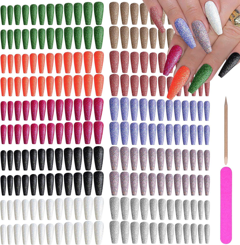 EBANKU 240 piezas extra largas de prensa en las uñas de bailarina ataúd uñas postizas de color sólido con purpurina de cubierta completa, uñas postizas de acrílico artificiales para mujeres niñas