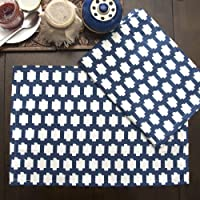 Earthy India Designer Table Mats/ Placements Made with Premium Handmade Cotton Fabric - Set of 2 (Blue African Mali...