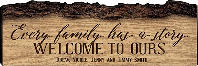 LifeSong Milestones Personalized Custom Family Name Sign Engraved with Family Name Every Family Has a Story Welcome to Ours (Every Family)