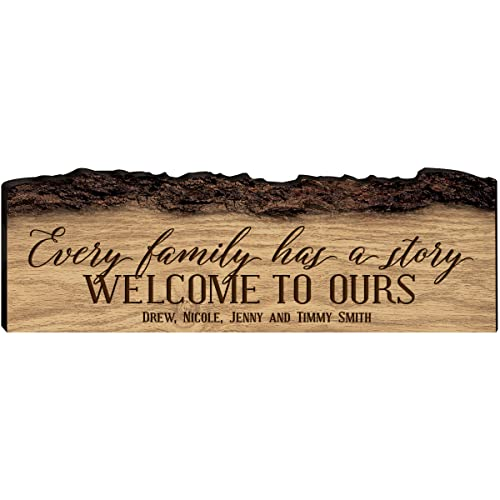 LifeSong Milestones Personalized Custom Family Name Sign Engraved with Family Name Every Family Has a Story