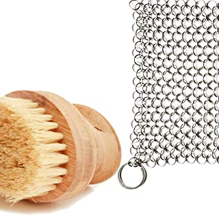 Cast Iron Sam's Cast Iron Skillet Cleaning Kit- Chainmail Scrubber and All Natural Gentle Wooden Scrub Brush. Easily Clean...