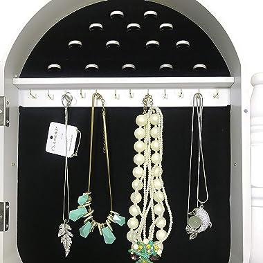 Goujxcy Jewelry Cabinet Dresser,Vanity Set with Mirror, Jewelry Cabinet/Jewelry Armoire, Makeup Organizer, Cushioned Stool, 2
