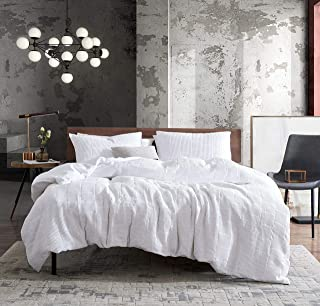 Kenneth Cole New York   Midwood Collection   Comforter Set - 100% Cotton Waffle Weave, Ultra-Soft & Reversible Bedding with Matching Shams, King, White