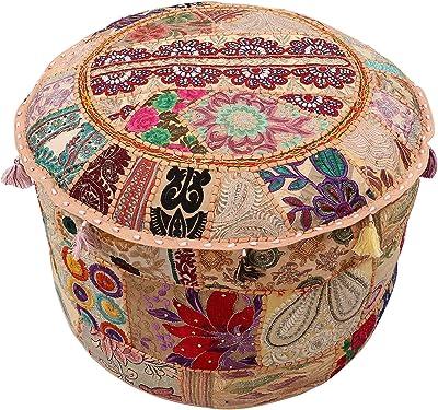 Navya Creations Bohemian Patch Work Pouf Ottoman,traditional Vintage Indian Pouf Floor Stool//foot Stool Christmas Decorative Chiar Ottoman Cover,100/% Cotton Art Decor Cushion Cover Pouf