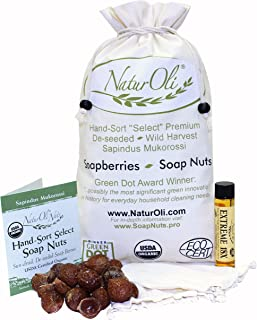 NaturOli Soap Nuts/Soap Berries. 2-Lbs USDA Organic (480 Loads) + 18X Bonus! (12 Loads) Select Seedless, 2 Wash Bags, Tote Bag, 8-pgs info. Organic Laundry Soap/Natural Cleaner. Processed in USA!