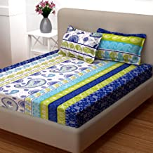 Story @ Home Candy Collection 120 TC 100% Cotton Blue 1 Double Bedsheet with 2 Pillow Cover