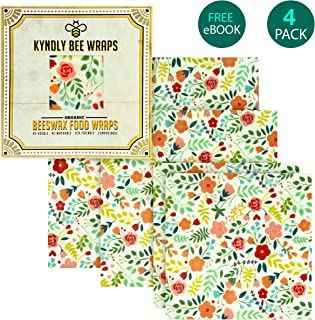 KYNDLY Beeswax Food Wrap. Eco-Friendly Reusable Wrappers. 100% Organic Cotton, Non Toxic, All Natural Food Grade Storage. Sustainable, Compostable and Biodegradable. 4 Pack, 2xS 1xM 1xL (CLASSIC)