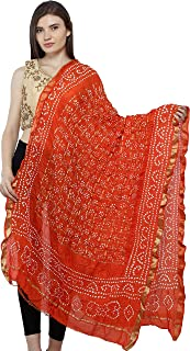 Exotic India Bandhani Tie-Dye Gharchola Dupatta from Jodhpur with Golden Thread Weave