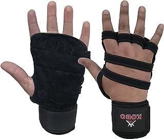 Kobo Weight Training Gloves with Wrist wrap (Neoprene Padded)