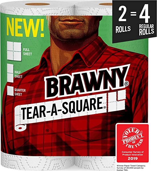 Brawny Tear A Square Paper Towels 2 Rolls 2 4 Regular Rolls 3 Sheet Size Options Packaging May Vary