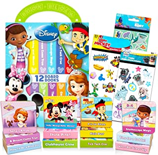 Disney Book Set for Toddlers ~ Pack of 12 Disney Board Books with Case and Stickers