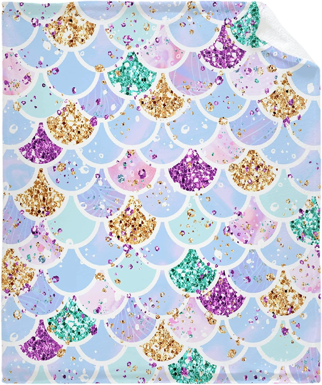Todeyya Mermaid Scales 激安通販専門店 Super 日本メーカー新品 Soft Flannel Lightwe Throw Blanket