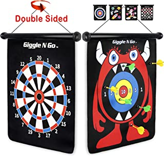 GIGGLE N GO Magnetic Dart Board Game - Our Reversible Rollup Kids Dart Board Set Includes 6 Safe Darts, 2 Dart Games and E...