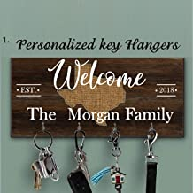 Home With City And State Color Key Holder for wall, Personalized brown family key hanger, Custom last name key hanger, Personalized Wall Mount Key Rack, Housewarming Gift, State home key hanger