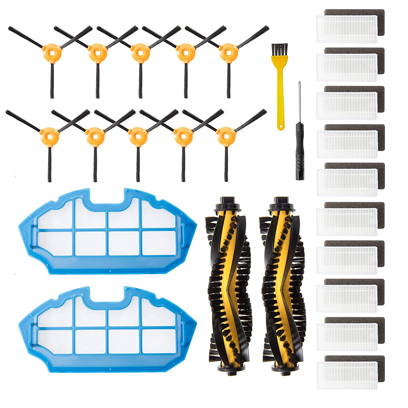 Helen Kayes Deluxe Set of Replacement Parts and Accessories Compatible with Ecovacs Deebot N79 and N79S Robotic Vacuum Cleaners (2+2+10+10)