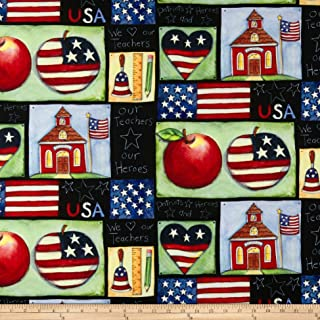 Springs Creative Products Susan Winget School is Cool Patriotic Patch Eco Canvas Fabric, Multicolor, Fabric By The Yard