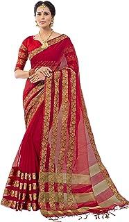 PISARA Women's Banarasi Cotton Silk Saree with Blouse Piece (2S_5301_SUGT-MK, Red)