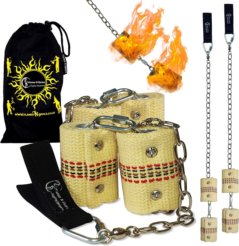 Flames 'N Games FIRE POI PRO Fire Poi Set Double Burner  65mm wicks + Free Bag