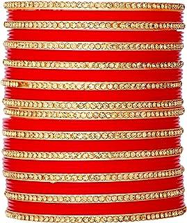 مجموعة أساور هندية من JD'Z COLLECTION بنمط بوليوود أحمر اللون لحفلات الزفاف التقليدية مجموعة أساور مجوهرات عرقية للنساء وا...