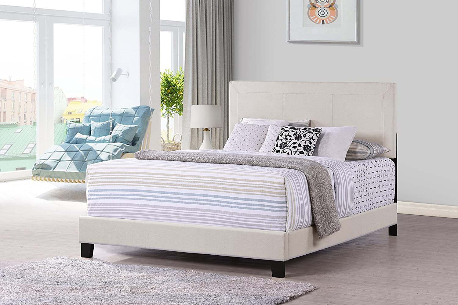 Furniture World Otto Classic Upholstered Headboard, Twin, Cream (Footboard and Side Rails Sold Separately)