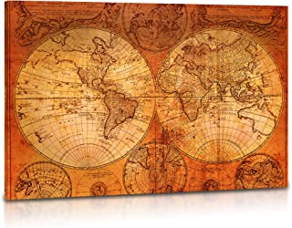 World Map Canvas Wall Art - Vintage Old World Map of the World, Retro Wall Art for Living Room, Home, Office Decor - Premium Quality Large Stretched Canvas Prints, Framed & Ready to Hang - 24 x 36