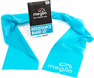 Meglio Exercise Bands 7ft Latex Free Perfect for Physical Therapy, Strength Training Workouts, Yoga, Pilates, Stretching. Range of Resistance Strengths & Free Exercise Guide Booklet