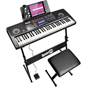 RockJam Keyboard Stand, Bench, Headphones, Sustain Pedal, Keynote Stickers & Simply Piano app, 61 Key Superkit (RJ761-SK)