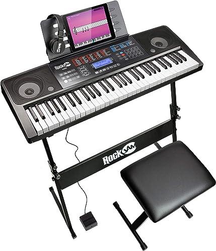 RockJam Kit de 61 Teclado de piano digital, Banco Soporte de teclado, Auriculares, Pedal de sostenido y simplemente A...