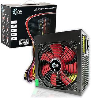 Fuente de Alimentación Conmutada PSU 650W ATX con 12cm Rojo del Ventilador Silencioso/para La Computadora PC/iCHOOSE