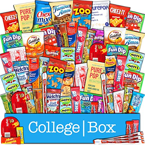 CollegeBox Bulk Snacks Care Package 60 Count For College Students