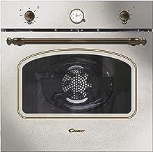 Candy FCC604AV/E Horno vintage multifunción, 65l, reloj analógico, puerta doble cristal, ventilador tangencial, A+, marfil y dorado