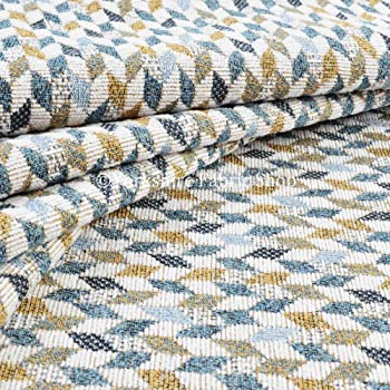 New Small Geometric Pattern In Grey Colour Chenille Upholstery Furnishing Fabric