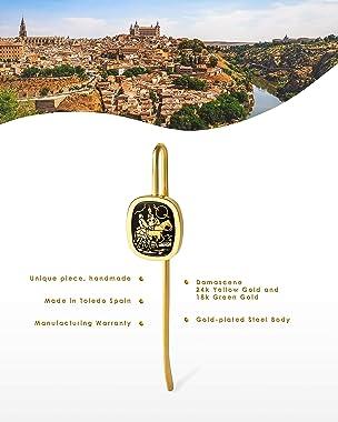 Toledo Damascene - 24k and 18k Gold Damascene Bookmark   Unique Pieces Handmade in Toledo Spain   The Quixote. Scene: The Wal
