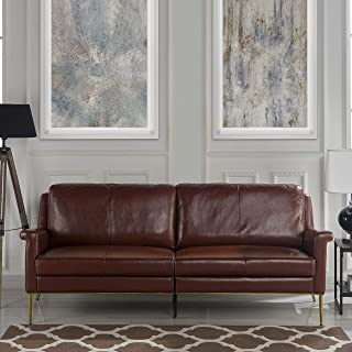 MidCentury Leather Sofa, Living Room Couch (Brown)