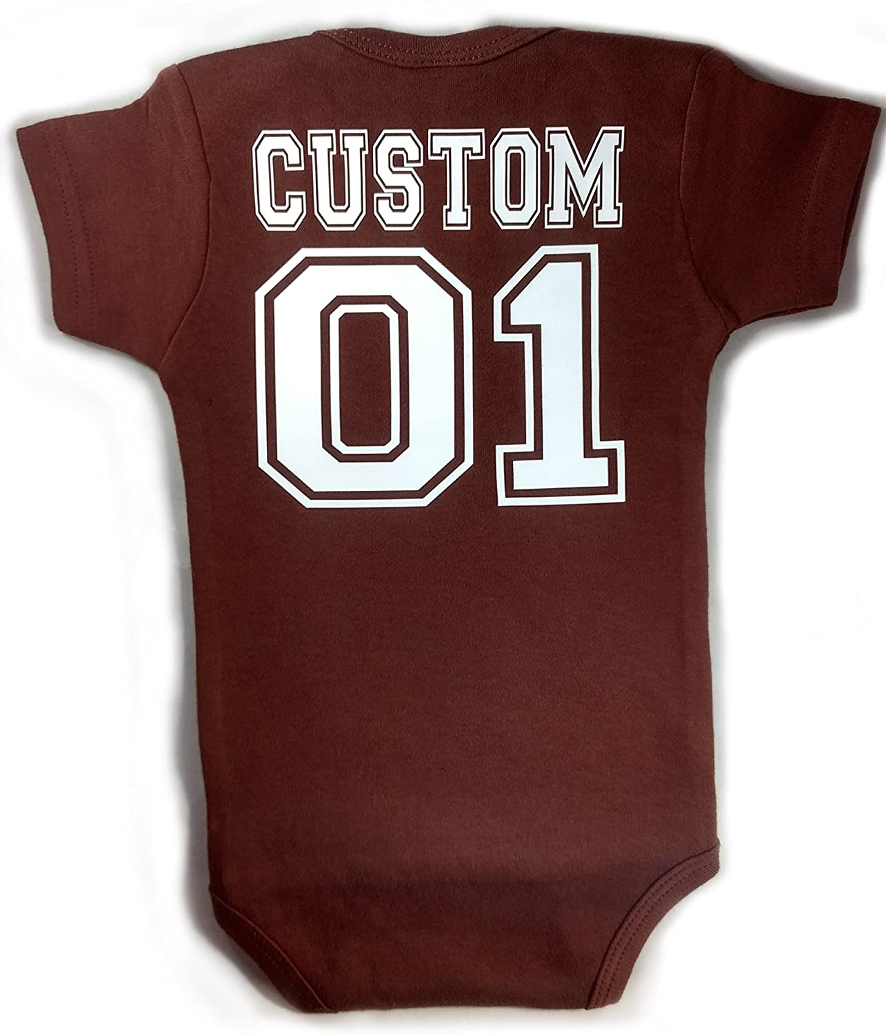 Quantity limited Baby Football with Custom Personalized Cheap O Back Bodysuit Lettering