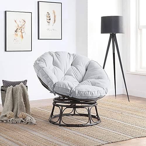 2021 BELLEZE Papasan Chair with Fabric Tufted Cushion 2021 and Sturdy Steel Frame, 360-Degree Swivel online sale Indoor, Grey outlet online sale